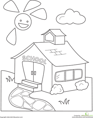 Kindergarten Holidays & Seasons Worksheets: Color the Schoolhouse