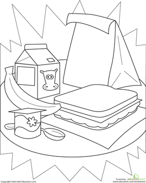 Kindergarten Holidays & Seasons Worksheets: Color the Healthy Lunch!
