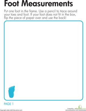 Second Grade Math Worksheets: Foot Measurements