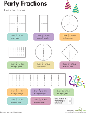 Third Grade Math Worksheets: Party Fractions