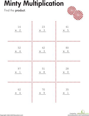 Third Grade Math Worksheets: Two-Digit by One-Digit Multiplication