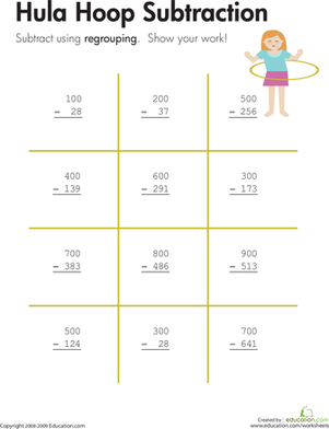Third Grade Math Worksheets: Hula Hoop: Three-Digit Subtraction with Regrouping