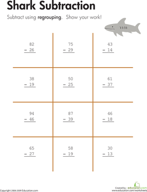 Third Grade Math Worksheets: Shark!: Two-Digit Subtraction with Regrouping