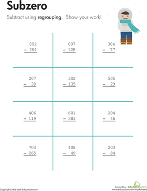 Third Grade Math Worksheets: Subzero: Three-Digit Subtraction with Regrouping