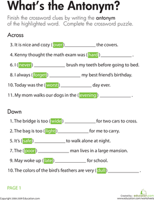Third Grade Reading & Writing Worksheets: Opposites Crossword: What's the Antonym?