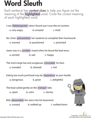 Third Grade Reading & Writing Worksheets: Context Clues: Word Sleuth