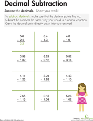 Worksheets Subtracting Decimals Worksheet decimal subtraction worksheet education com third grade math worksheets subtraction