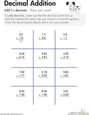 Printables Decimals Worksheets decimal addition worksheet education com third grade math worksheets addition