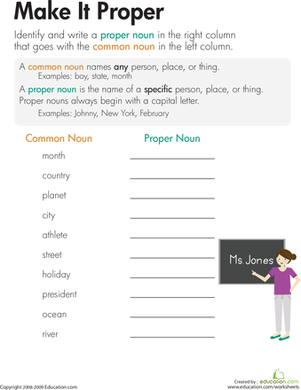 Common and proper nouns worksheets 3rd grade