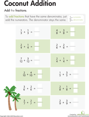 Third Grade Math Worksheets: Crazy Coconut Fractions