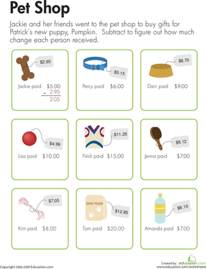Third Grade Math Worksheets: Making Change at the Pet Shop