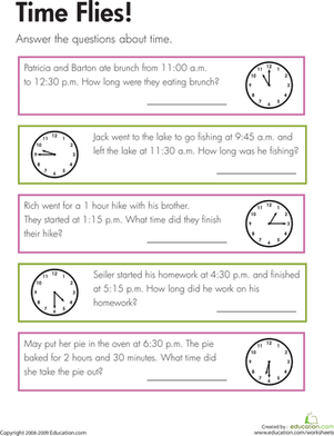 Third Grade Math Worksheets: Time Flies!