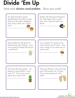 Third Grade Math Worksheets: Division Word Problems: Divide 'Em Up!