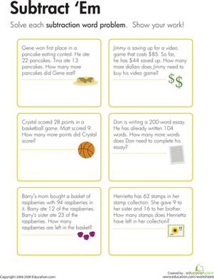 Third Grade Math Worksheets: Subtraction Word Problems: Subtract 'Em