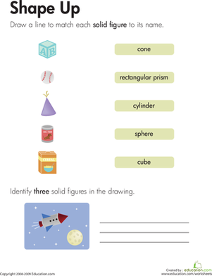 Third Grade Math Worksheets: Solid Figures: Shape Up!