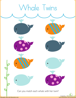 Preschool Math Worksheets: Matching: Whale Twins