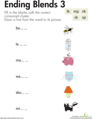 First Grade Reading & Writing Worksheets: Ending Blends 3