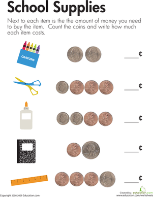 First Grade Math Worksheets: Counting Coins to Get Ready for School