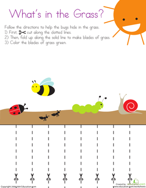 Preschool Coloring Worksheets: Cutting Lines: What's in the Grass?