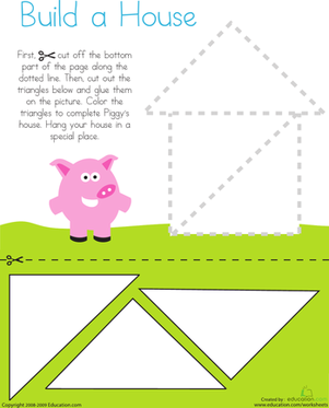 Printables Cutting Worksheets For Preschool cutting triangles build a house worksheet education com