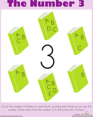 Preschool Math Worksheets: Counting: The Number 3