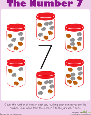 Counting: The Number 7 | Worksheet | Education.com