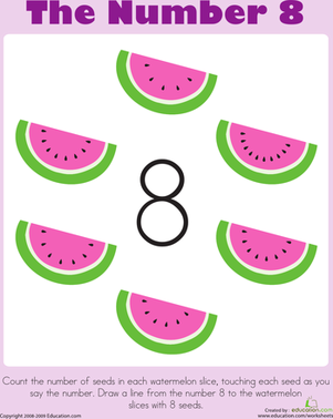 Preschool Math Worksheets: The Number 8