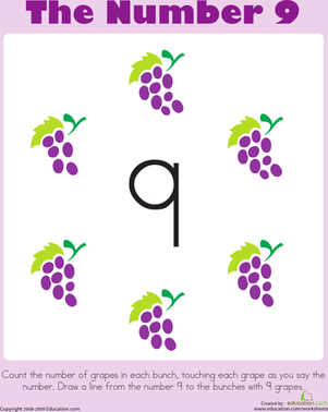 Preschool Math Worksheets: Counting: The Number 9