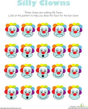 Preschool Math Worksheets: Clowns: Silly Faces