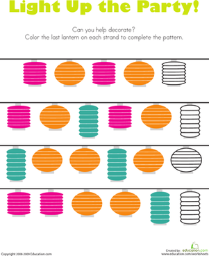 Preschool Math Worksheets: Patterns: Party Lanterns