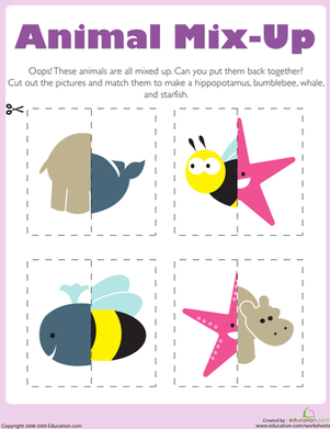 Preschool Math Worksheets: Matching: Animal Mix-Up