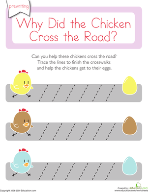 Preschool Reading & Writing Worksheets: Why Did the Chicken Cross the Road: Diagonal Lines 1