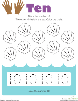 Tracing Numbers: 10 | Worksheet | Education.com