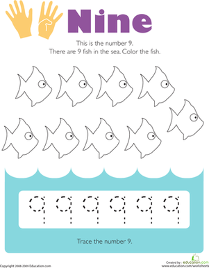 Tracing Numbers: 9 | Worksheet | Education.com