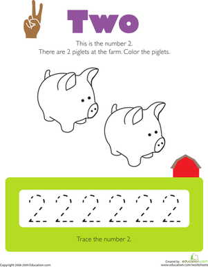 Tracing Numbers: 2 | Worksheet | Education.com