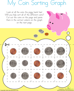 Kindergarten Math Worksheets: Picture Graph: Sorting Coins