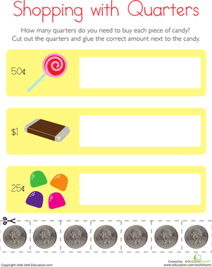 First Grade Math Worksheets: Counting Coins: Shopping with Quarters