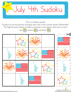 Kindergarten Holidays & Seasons Worksheets: July 4th Sudoku