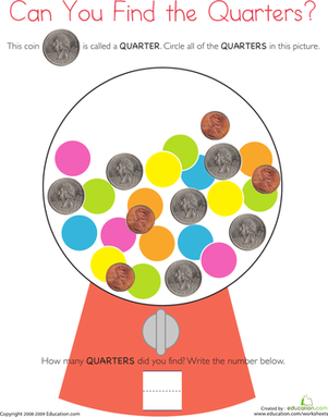 First Grade Math Worksheets: Coins: Catch the Quarters
