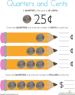 First Grade Math Worksheets: Counting Quarters