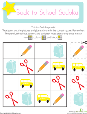 Picture Sudoku: Back to School | Worksheet | Education.com