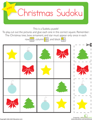 Kindergarten Holidays & Seasons Worksheets: Christmas Sudoku