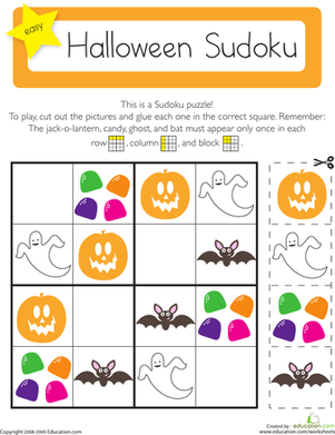 Kindergarten Math Worksheets: Halloween Sudoku