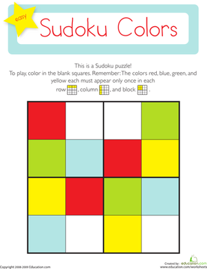 Kindergarten Math Worksheets: Sudoku Colors
