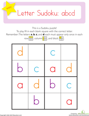 Easy Sudoku: Letters a,b,c,d