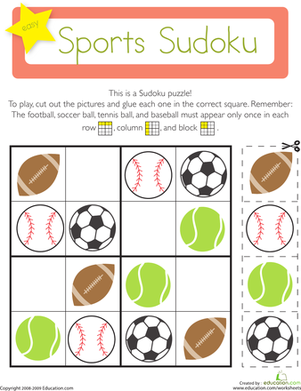 Kindergarten Math Worksheets: Sports Sudoku