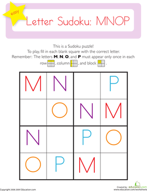 Kindergarten Reading & Writing Worksheets: Capital Letter Sudoku: MNOP