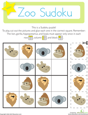 Sudoku Zoo Animals Kindergarten on Science Experiments For 4th And 5th Graders