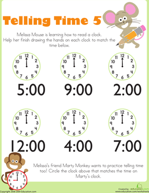 Telling Time with Melissa Mouse 5