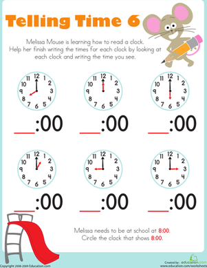 Telling Time with Melissa Mouse 6 | Worksheet | Education.com
